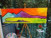 Quadro moderno con colori accesi fatto a mano su tela