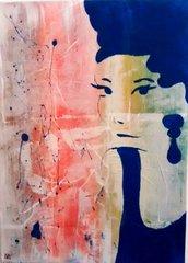 Quadro moderno raffigurante volto di donna particolare fatto a mano
