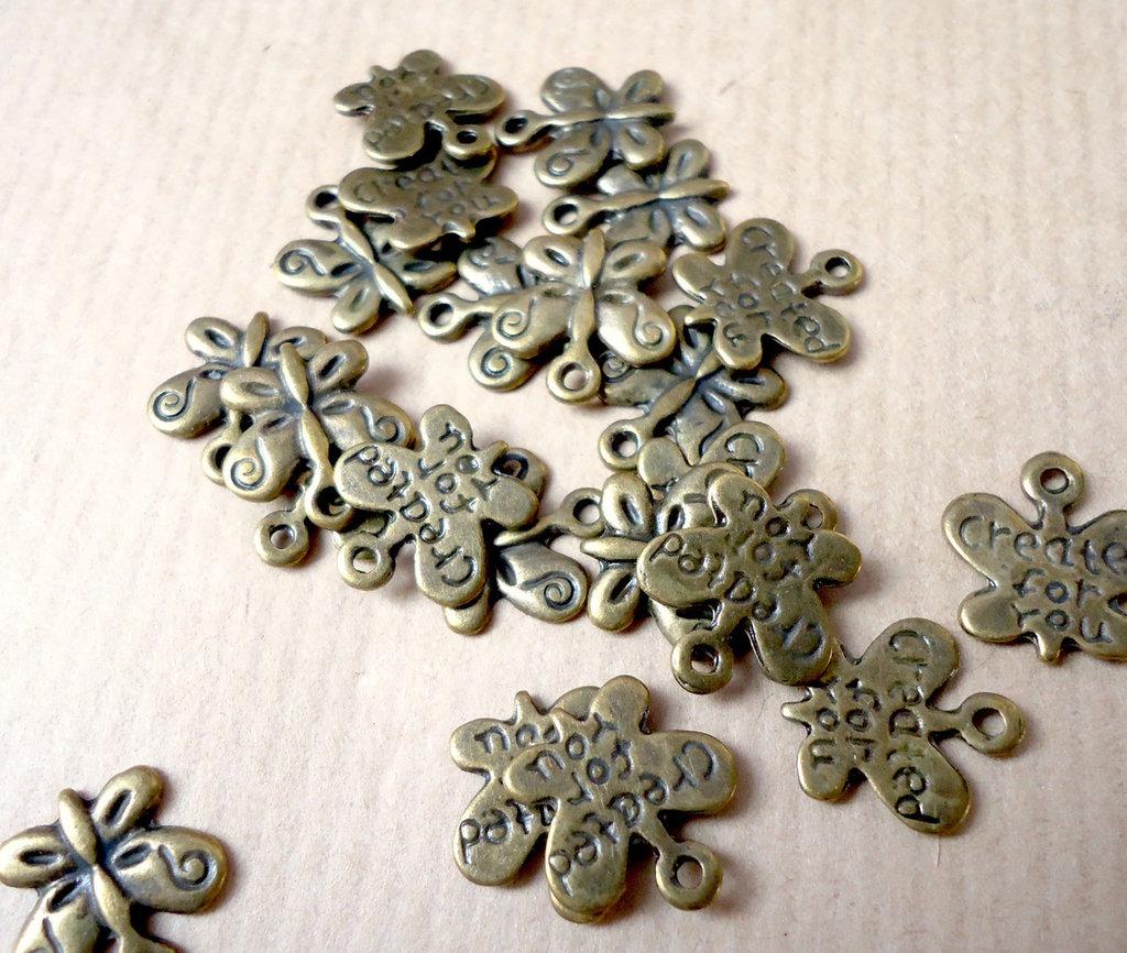 10pz ciondoli FARFALLA created for you - bronzo cm 1,3