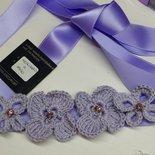 Cintura a nastro glicine con fiori e farfalle