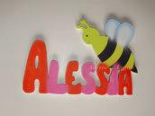 Nome ALESSIA realizzato in legno da appendere