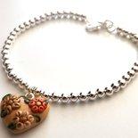 Bracciale con palline placcate argento e ciondolo cuore in fimo idea regalo Natale per lei