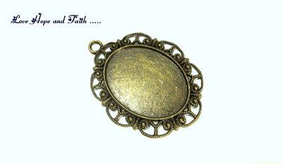 Base per cammeo/cabochon ovale filigranato color bronzo (6.1x4.5cm) (cod.10485)