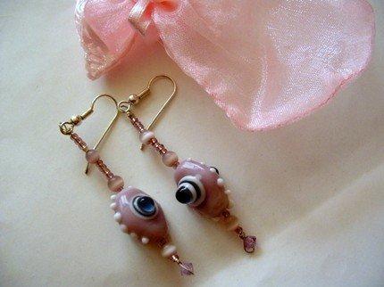 orecchini in vetro di murano - a breath of soul with pink blue glass earrings
