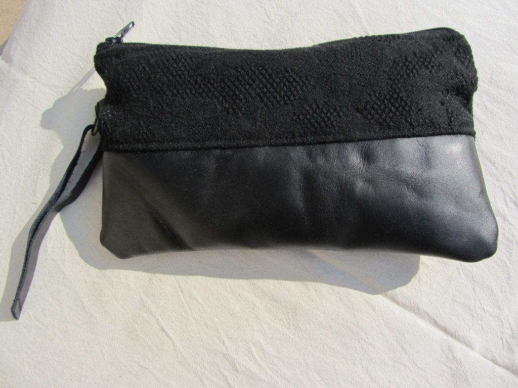pochette vera pelle italiana nero tessuto tappezzeria fatto a mano pezzo unico