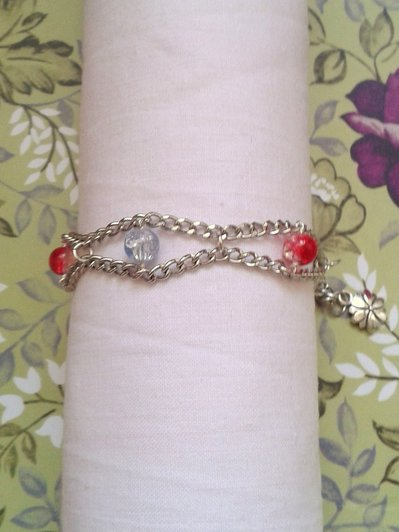 Braccialetto catena e perle in vetro crackle