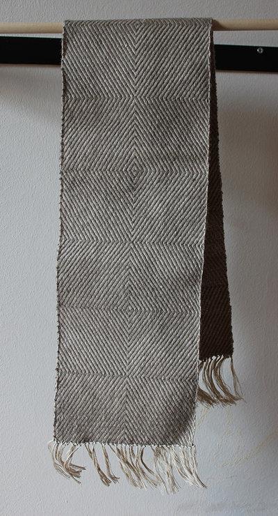 """Tessuto di saia """"diamante"""" color grigio, lana biologica e canapa,intrecciato a mano"""