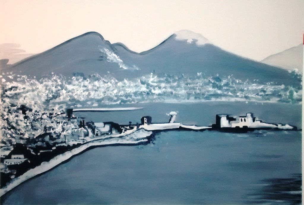 Quadro moderno bianco e nero, Golfo di Napoli