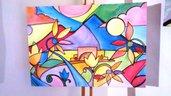 Quadro moderno colori vivaci, astratto, golfo di Napoli