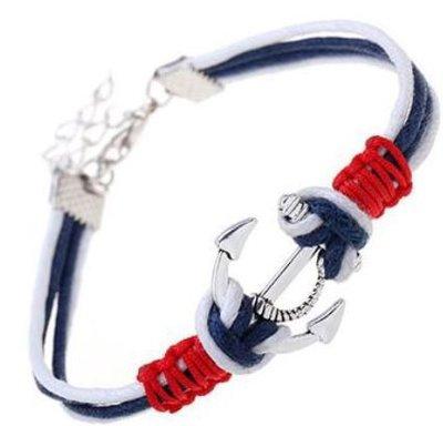 Bracciale con cordino blu,bianco e rosso,ciondolo ancora in argento tibetano idea regalo Natale per lei