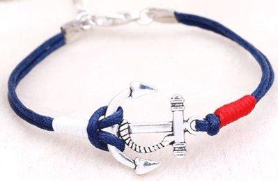 Bracciale con cordino blu,rosso e bianco con ciondolo ancora idea regalo natale per lei