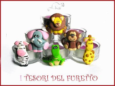 "PROMOZIONE: Set 6 Bomboniere Serie ""Savana"" portacandela segnaposto fimo cernit kawaii matrimonio battesimo nascita"