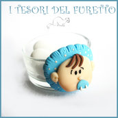 "Bomboniera ""Bebè Rosa"" Portacandela segnaposto nascita battesimo  fimo cernit kawaii economica originale bambina femminuccia"