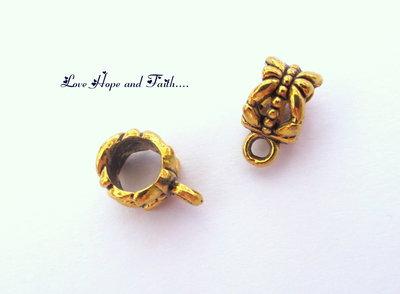 Anello/gancio porta ciondolo color oro (6x12mm) (cod.01325)