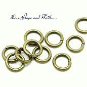 LOTTO 100 aperti anellini color bronzo (5mm) (cod.16978)