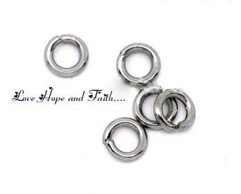 LOTTO 100 aperti anellini color argento scuro (4mm) (cod.10268)