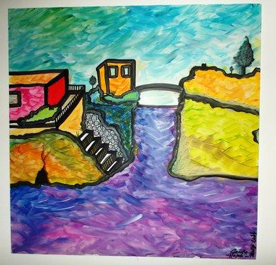 Quadro moderno con colori molto accesi, raffigurante la Gaiola, paesaggio di Napoli