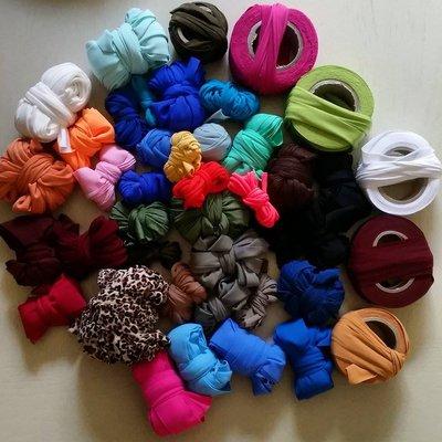 Lotto da 1kg di fettuccia in lycra elastica e cotone colori misti
