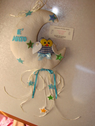 Fiocco nascita luna con gufo personalizzato con il nome del bimbo