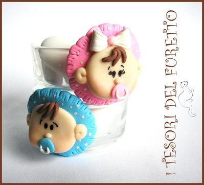"""Set  24  Bomboniere """"Bebè Rosa o Azzurro"""" a scelta segnaposto portacandela economica originale fimo cernit idea regalo"""
