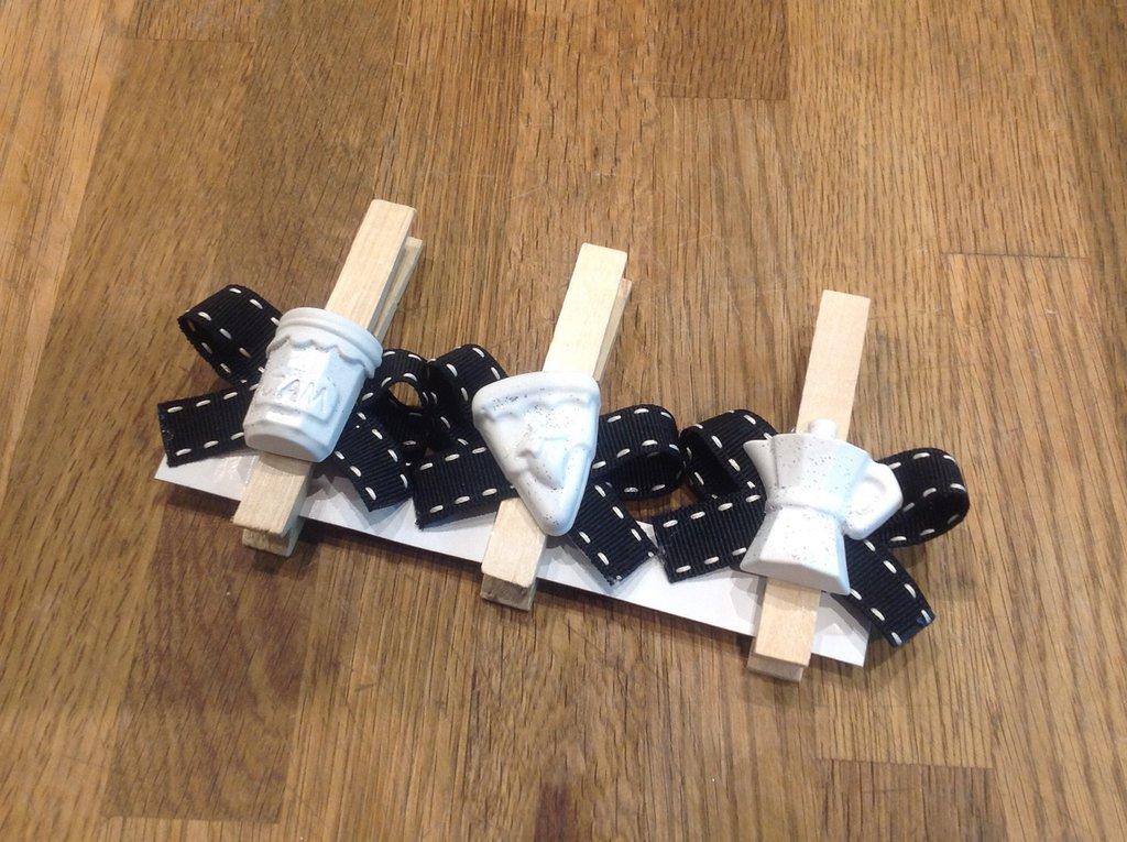 Set di tre mollette chiudi pacco con gessetti