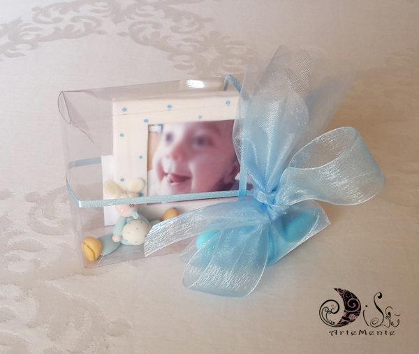 Cornice portafoto bomboniera Battesimo o compleanno bimbo