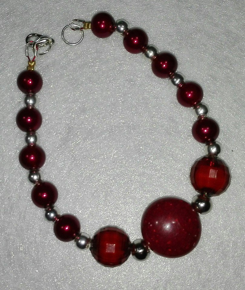 Bracciale in perle Bordeaux