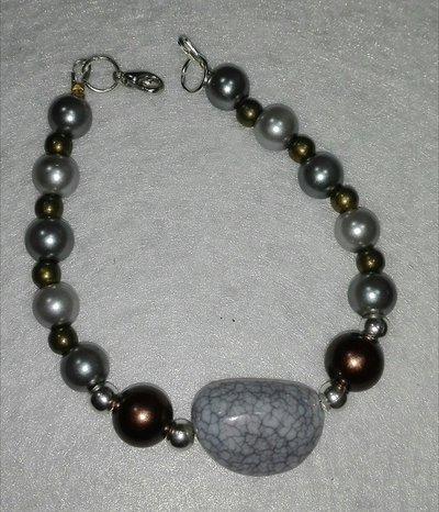 Bracciale con perle Grigio/Ottone