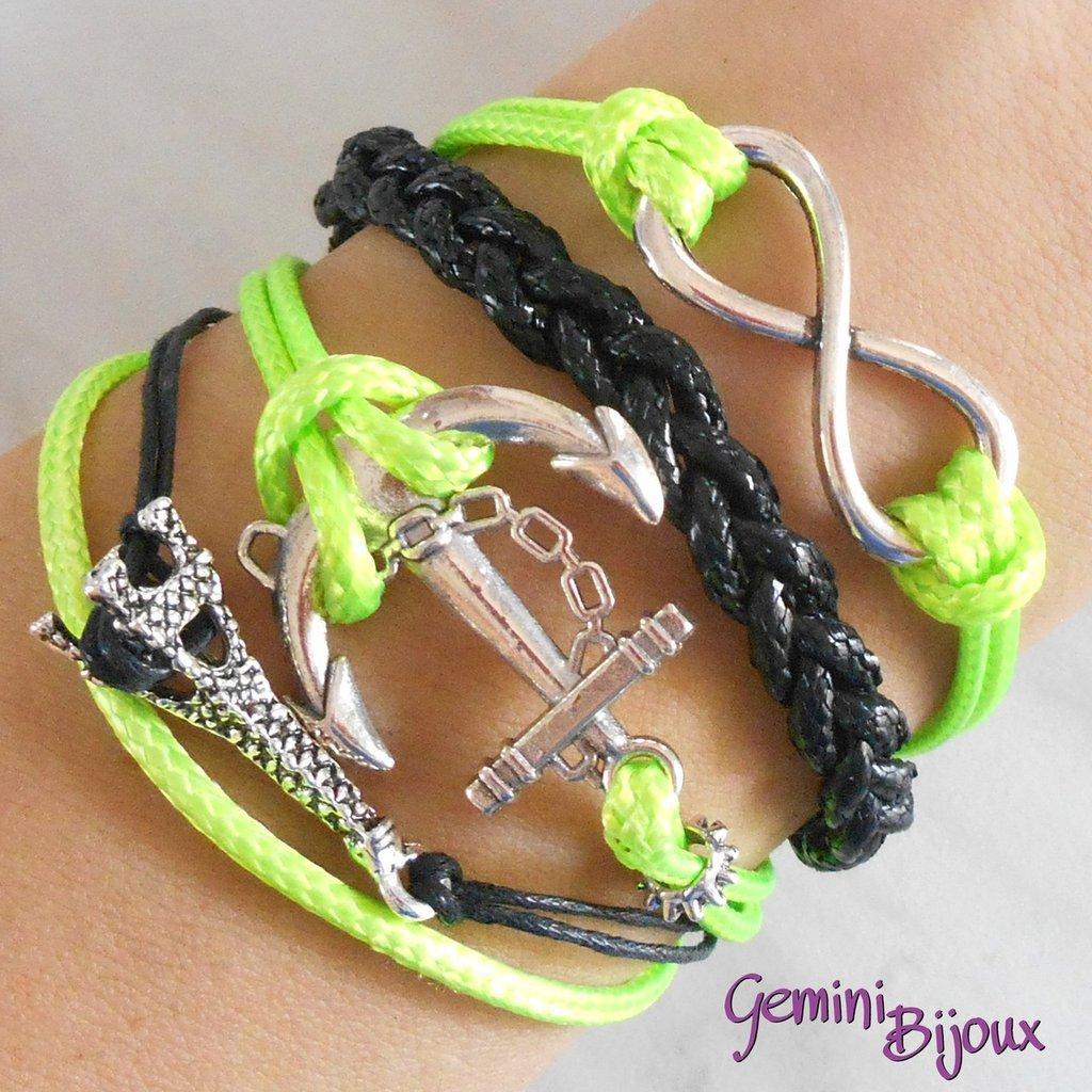 Bracciale multifile verde lime e nero in corda con ancora, Tour Eiffel, infinito e treccia