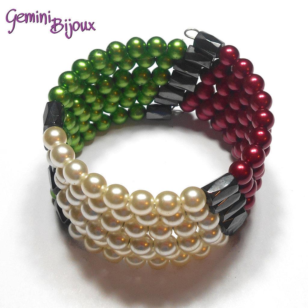 Bracciale armonico con perle tonde, tricolore bianco rosso e verde