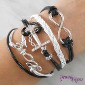 Bracciale multifile nero in corda con ancora, love, infinito e treccia