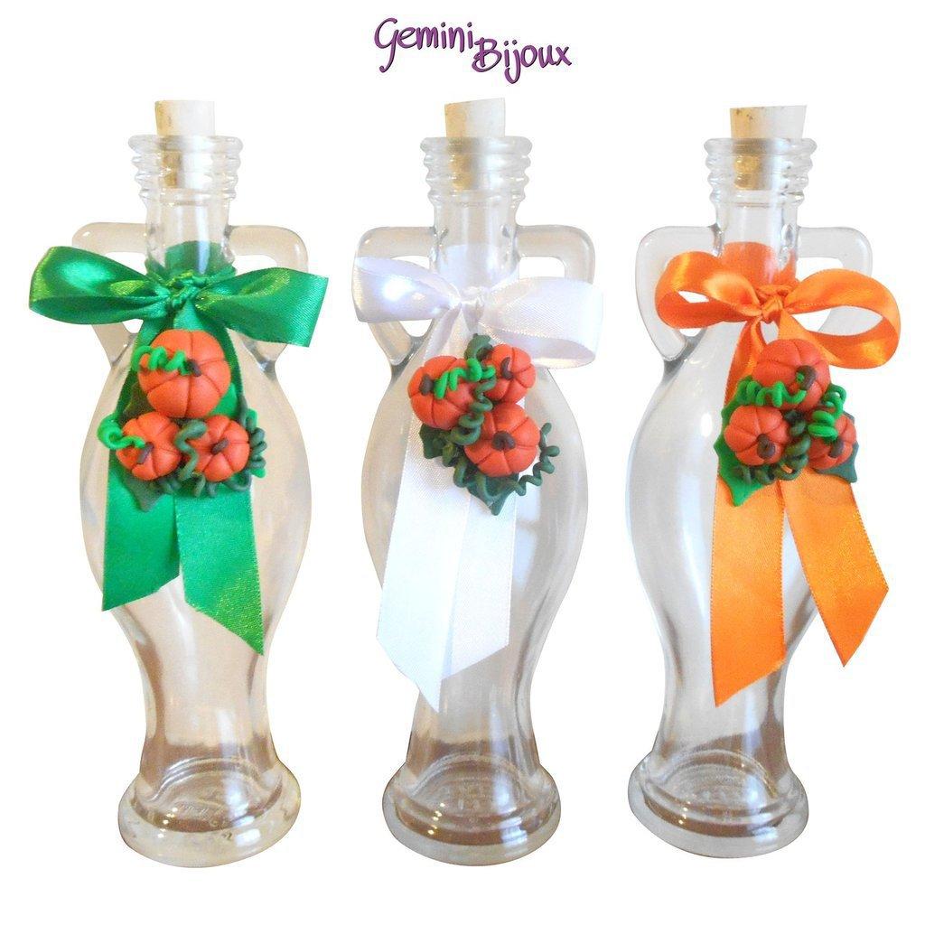 """Bottiglia in vetro Anfora decorata in fimo """"zucche"""""""