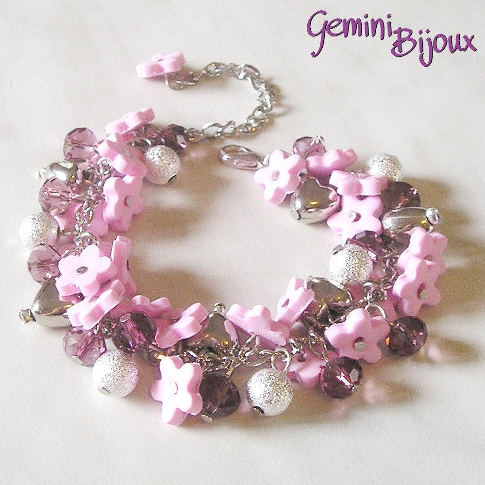 Bracciale a grappolo fiori di fimo rosa