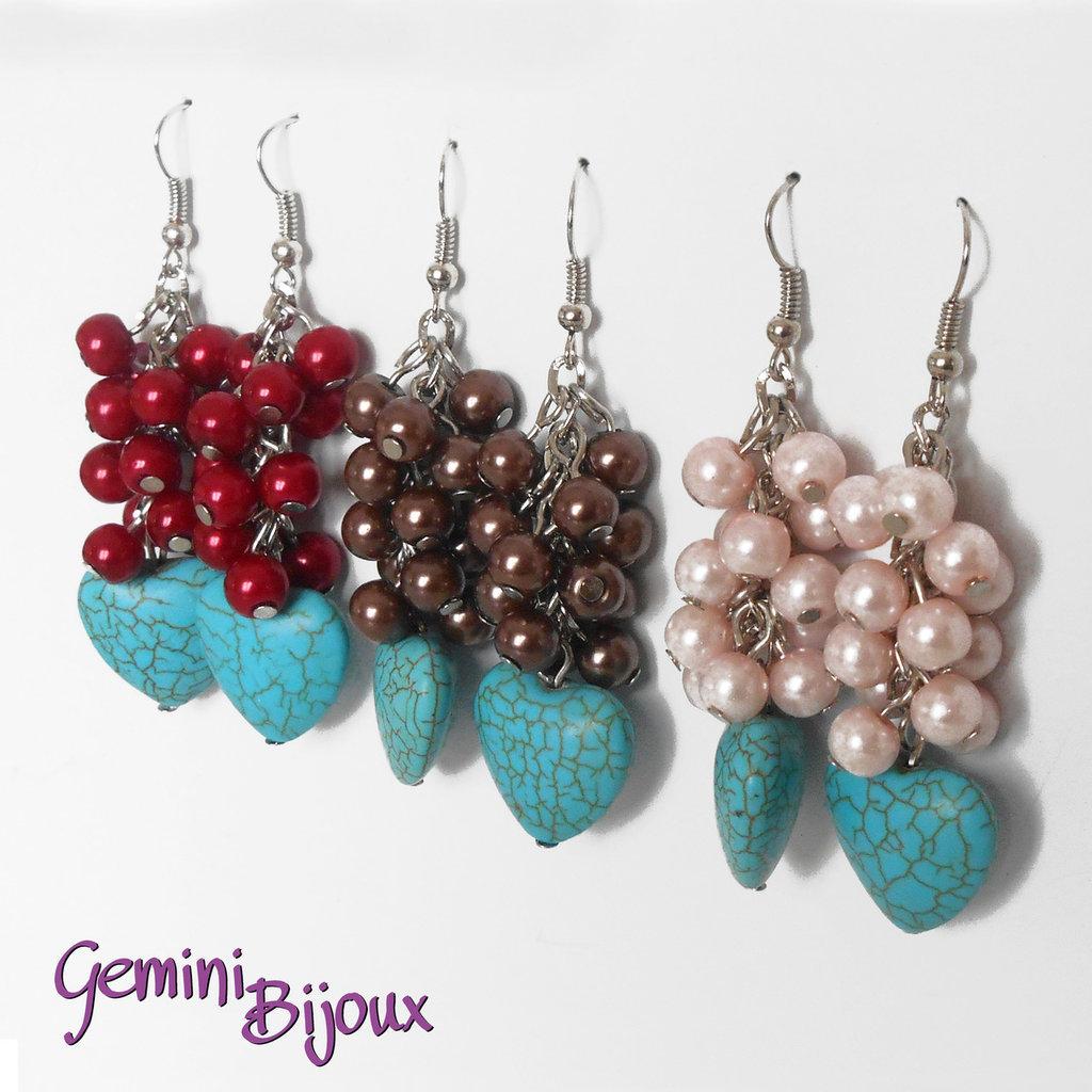 Orecchini cuore di turchese e grappolo di perle