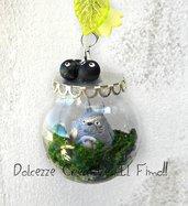 Collana ampolla di Vetro - Con Totoro ed i Nerini del buio