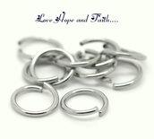 LOTTO 100 anellini aperti color argento scuro (6mm) (cod.00171)