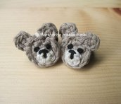 Orsetto codino/anellino  in cotone lavorato a crochet  per bambina - uncinetto -  elastico
