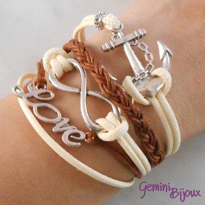 Bracciale multifile beige-marrone in corda con ancora, love, infinito e treccia