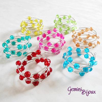 Bracciale armonico con perle crackle tonde colorate
