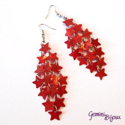 Orecchini chandelier a rombo stelle di madreperla