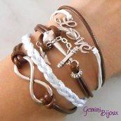 Bracciale multifile marrone-bianco in corda con ancora, love, infinito e treccia