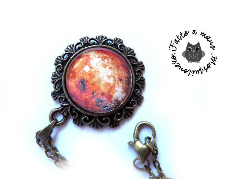 Collana Pianeta Cabochon ciondolo Luna Marte Venere bronzo vintage