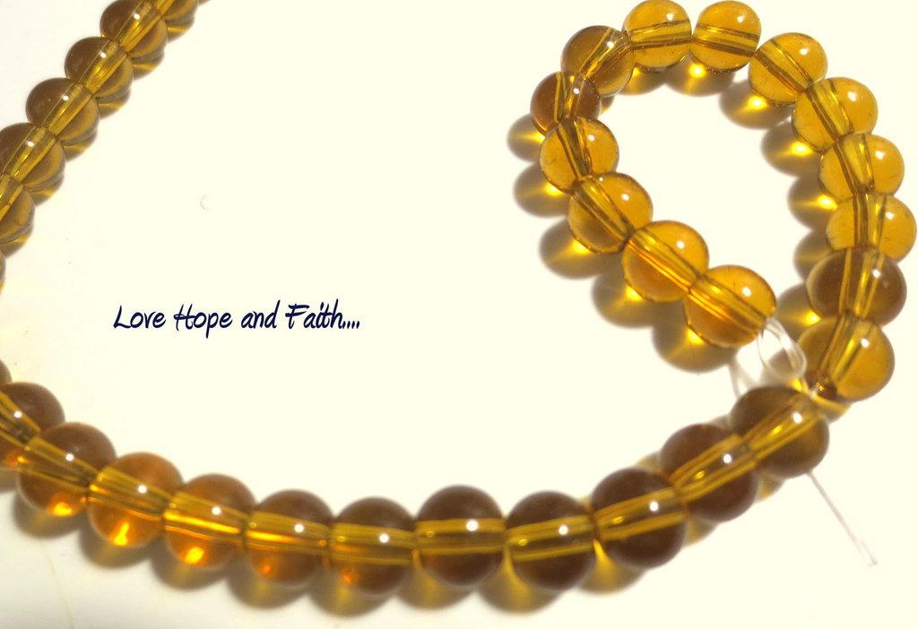 """LOTTO 10 perle in vetro color """"Ambra"""" (6 mm)  (cod.11626)"""