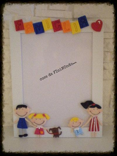 cornice fatta a mano per la famiglia, decorazioni in fimo