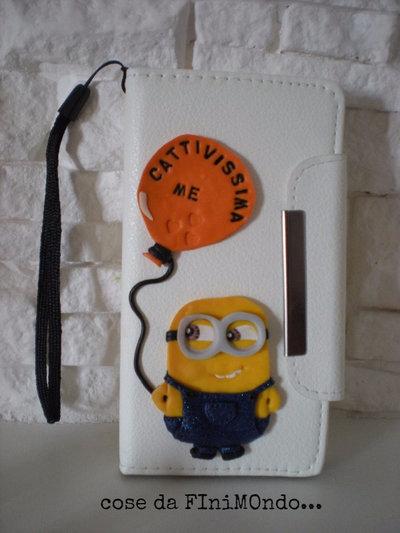 custodia telefono ecopelle  decorata in fimo