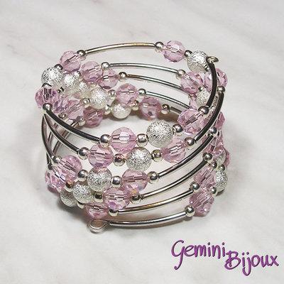Bracciale armonico rosa e argento