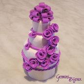 Bomboniera Wedding Cake in fimo con scatolina portaconfetti