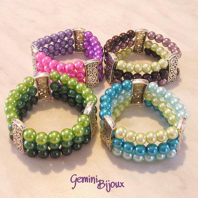 Bracciale elastico perle a tre file