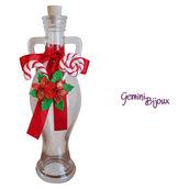 Bottiglia in vetro Anfora decorata in fimo Stelle di Natale