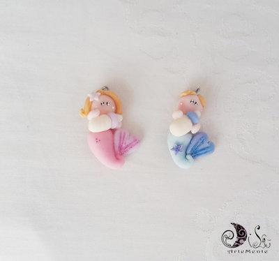Bomboniera battesimo ciondoli Sirena bebè e ciondoli Tritone bebè